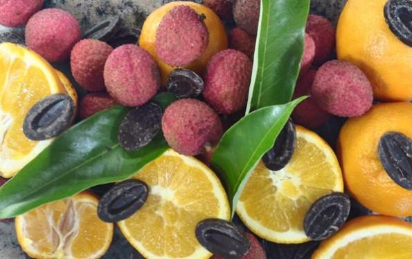 Dessert du Menu club à 37 € chocolat Litchi orange